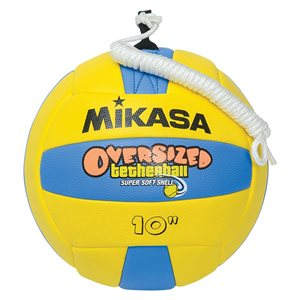 Oversized cushioned rubber tetherball with rope