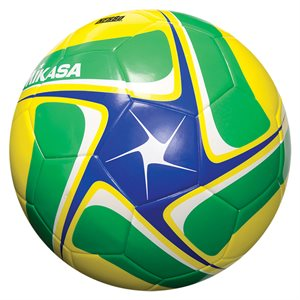 Synth. leather soccer ball, blue, green & yellow