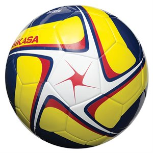 Synth. leather soccer ball, white, yellow & navy